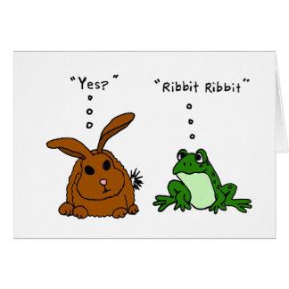 FB dibujo animado divertido del conejo y de la ran Tarjeta De Felicitación