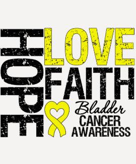 Fe del amor de la esperanza del cáncer de vejiga camisetas