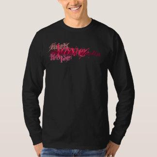 Fe, esperanza, amor - rosa en el LS negro Camisas