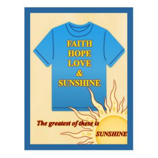 Fe, esperanza, amor y sol postales