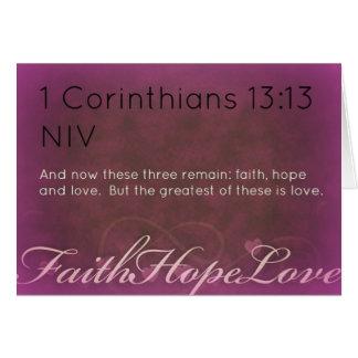 Fe, esperanza, tarjeta de felicitación del amor