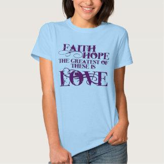 Fe, esperanza, y amor camisetas