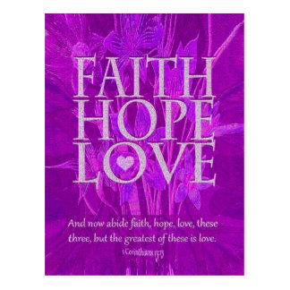 Fe, esperanza y amor postal