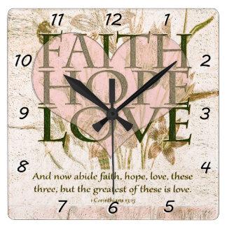 Fe, esperanza y amor reloj cuadrado