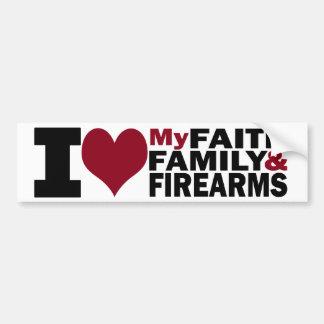Fe, familia y pegatina para el parachoques de las