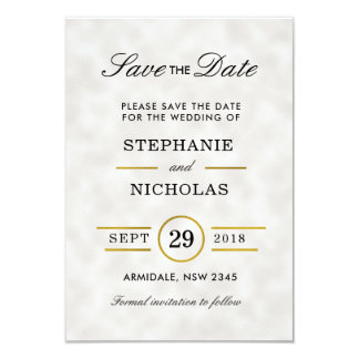 Fecha blanca de la reserva del boda de la hoja de invitación 8,9 x 12,7 cm