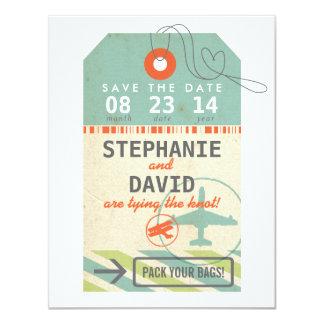Fecha de la reserva del boda del destino del invitación 10,8 x 13,9 cm