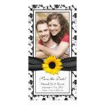 Fecha floral negra de la reserva del boda de la ci tarjeta personal con foto