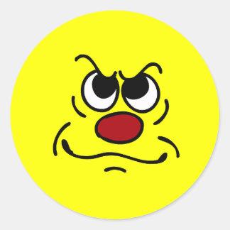FED encima de la cara sonriente Grumpey Etiqueta Redonda