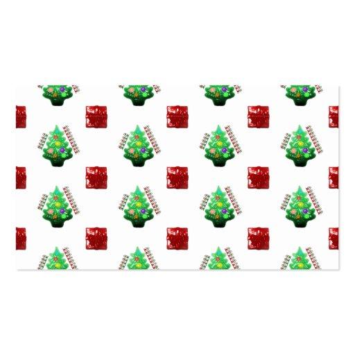 Felices árbol de navidad y regalo tarjetas de visita