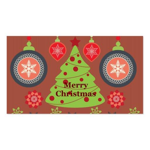 Felices copos de nieve del árbol de navidad del dí tarjeta de visita