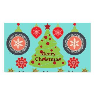 Felices copos de nieve del árbol de navidad del tarjetas de visita