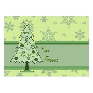 Felices etiquetas del árbol de navidad y del tarjetas de visita grandes