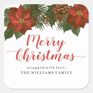 Felices etiquetas del regalo de Navidad del Pegatina Cuadrada