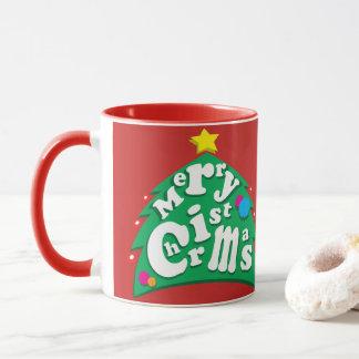 Felices letras del árbol de navidad taza