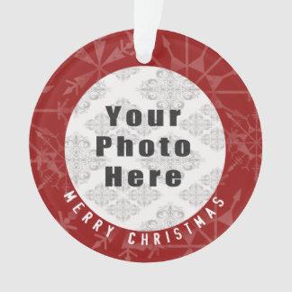 Felices Navidad 1 copo de nieve/texto rojos de la Adorno