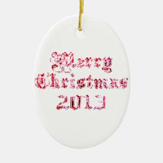Felices Navidad 2013 Adorno Ovalado De Cerámica