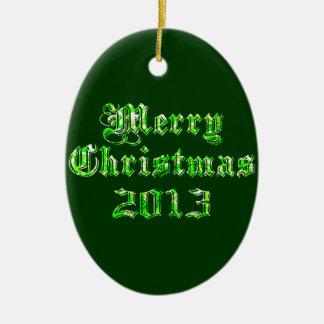 Felices Navidad 2013 del brillo verde Adorno Ovalado De Cerámica