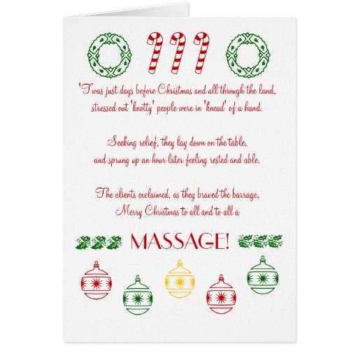 ¡Felices Navidad a todos y a todo el un MASAJE! Tarjeta