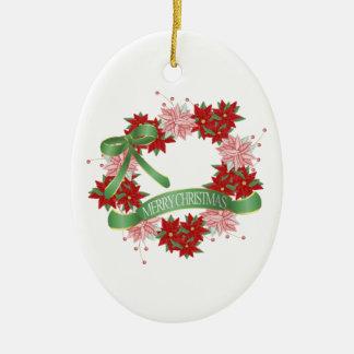 Felices Navidad Adorno Navideño Ovalado De Cerámica
