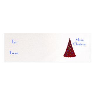 Felices Navidad, árbol de navidad rojo Tarjetas De Visita Mini