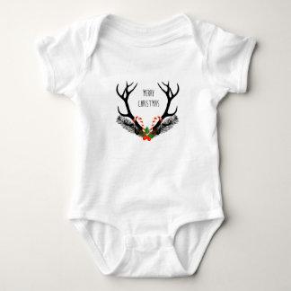 Felices Navidad - astas de los ciervos - mono Body Para Bebé