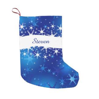 Felices Navidad azules de los copos de nieve - Calcetín De Navidad Pequeño