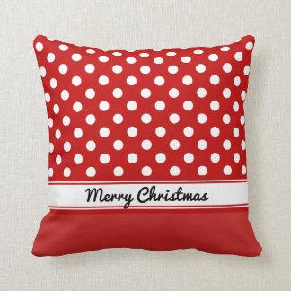 Felices Navidad bajas rojas de los lunares rojos Cojín Decorativo