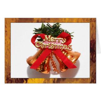 Felices Navidad Bell con el vitral Borde del oro Tarjetas