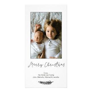 Felices Navidad blancas negras simples Tarjeta Fotografica