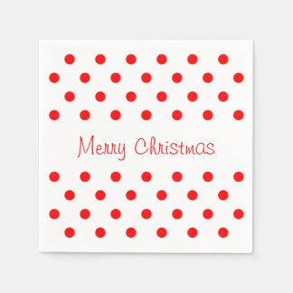 Felices Navidad blancas rojas del modelo de lunar Servilletas De Papel