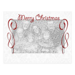 Felices Navidad blancas rojas Tarjeta Postal