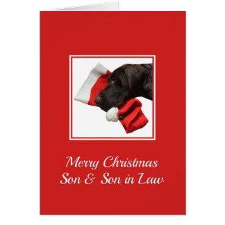 Felices Navidad brillantes del hijo y del yerno Tarjeta De Felicitación