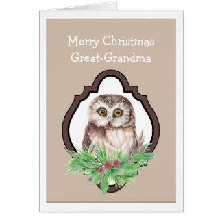 Felices Navidad búho, humor de la gran abuela del  Tarjeta De Felicitación