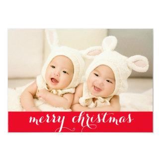 Felices Navidad con día de fiesta de la foto del Invitación 12,7 X 17,8 Cm