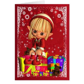 Felices Navidad con el pequeño duende lindo Tarjeta De Felicitación