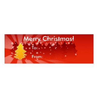 Felices Navidad con la etiqueta de los árboles Tarjetas De Visita Mini