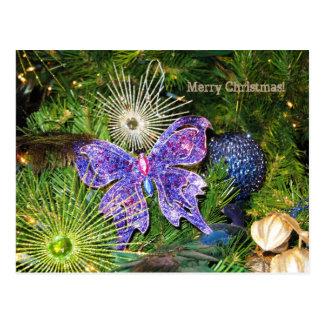 Felices Navidad con la postal púrpura de la