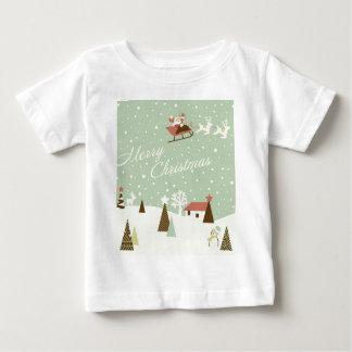 Felices Navidad con Papá Noel, Rudolfs, en nieve Camiseta De Bebé