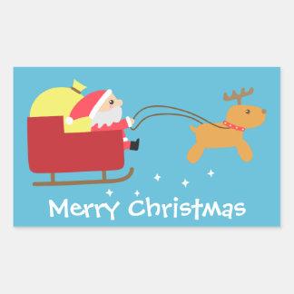 Felices Navidad con Santa y el reno lindos Pegatina Rectangular