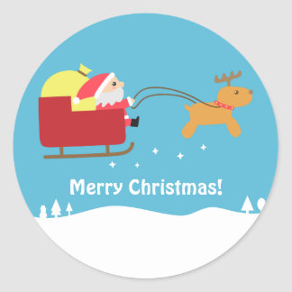 Felices Navidad con Santa y el reno lindos Pegatina Redonda