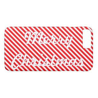 Felices Navidad de encargo rojas y rayas blancas Funda iPhone 7 Plus