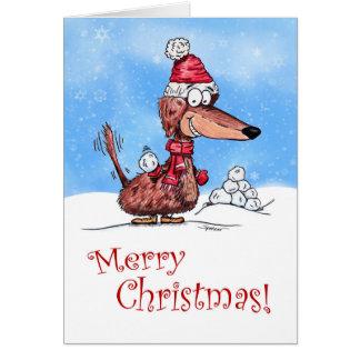Felices Navidad de la bola de nieve del Dachshund Tarjeta De Felicitación