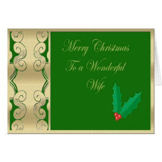 Felices Navidad de la esposa maravillosa Tarjeta De Felicitación