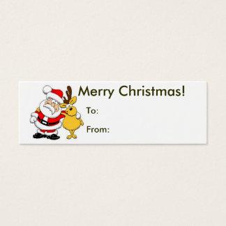 Tarjeta De Visita Mini Felices Navidad de la etiqueta de Santa