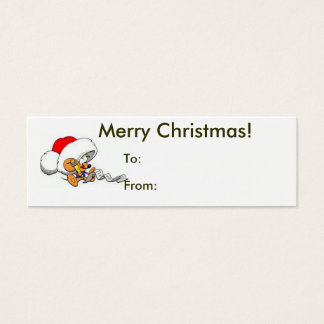 Tarjeta De Visita Mini Felices Navidad de la etiqueta del ratón de Santa