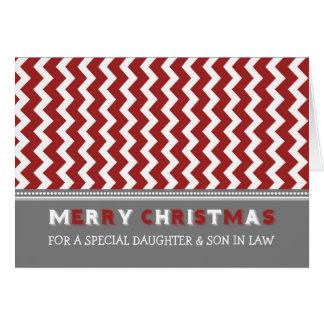 Felices Navidad de la hija y del yerno de Chevron Tarjeta De Felicitación