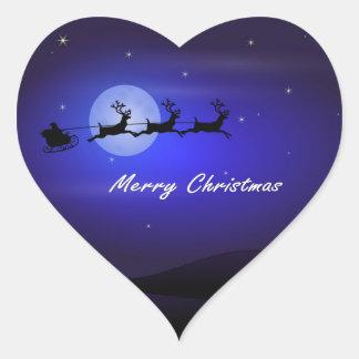 Felices Navidad de la luna del trineo de Santa Pegatina En Forma De Corazón