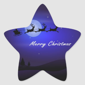 Felices Navidad de la luna del trineo de Santa Pegatina En Forma De Estrella