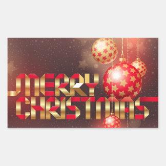 Felices Navidad de las bolas rojas y de oro del Pegatina Rectangular